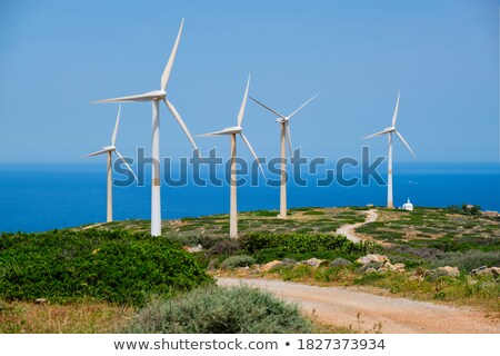 Wind generator turbines. Crete island, Greece Stock photo © dmitry_rukhlenko