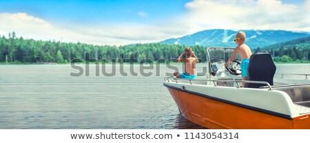 Két férfi motorcsónak tenger halászat természet nyár Stock fotó © elly_l