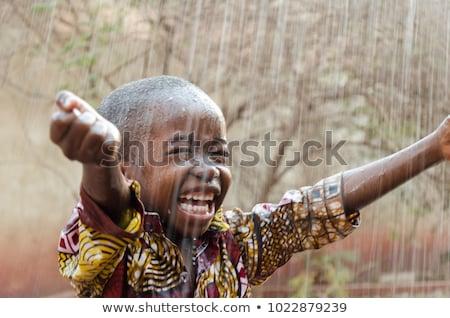boldog · afrikai · fiú · kint · portré · gyermek - stock fotó © poco_bw
