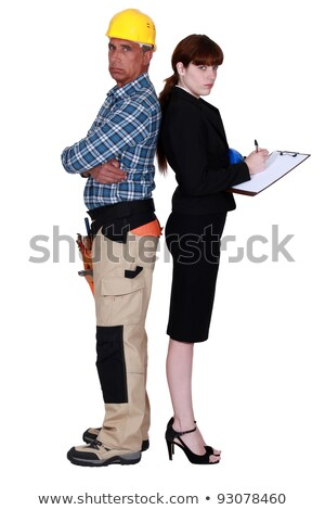 Grumpy builder stood with female supervisor Stock photo © photography33