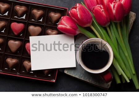 Printemps fleur rouge coeur carte de vœux blanche Photo stock © meikis