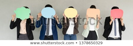 collage of a businesswoman holding a blank sign stock photo © photography33