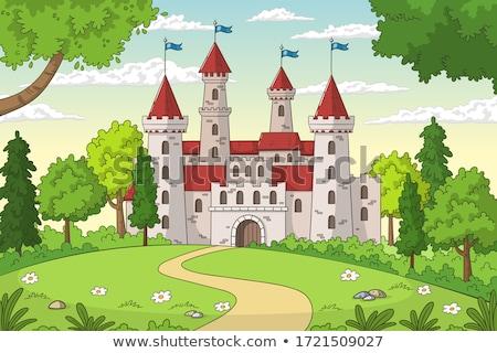 rajz · illusztráció · kastély · tájkép · égbolt · fa - stock fotó © BarbaRie