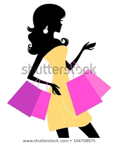 nő · vásárlás · sziluett · izolált · fehér · lány - stock fotó © lordalea