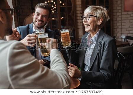 Trabajador cerveza freno amarillo vidrio Foto stock © stevanovicigor