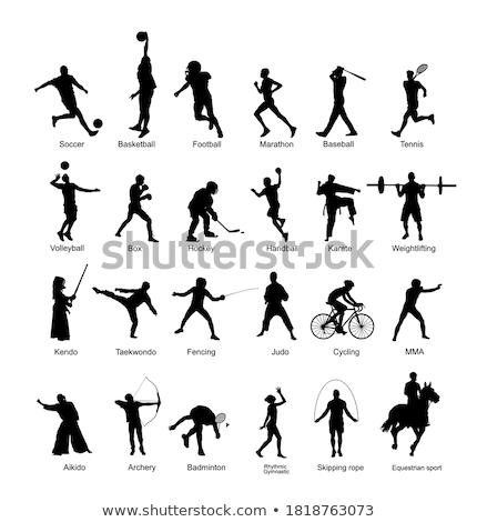 fitness · silhouetten · ingesteld · meisje · lichaam · gezondheid - stockfoto © kaludov