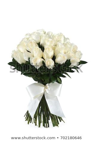 Ramo blanco rosas rosas rojas aislado boda Foto stock © neirfy