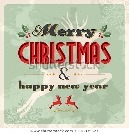 веселый · Рождества · Vintage · карт · прибыль · на · акцию · вектора - Сток-фото © beholdereye