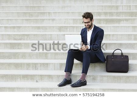 бизнесмен · сидят · портфель · бизнеса · фон · костюм - Сток-фото © photography33