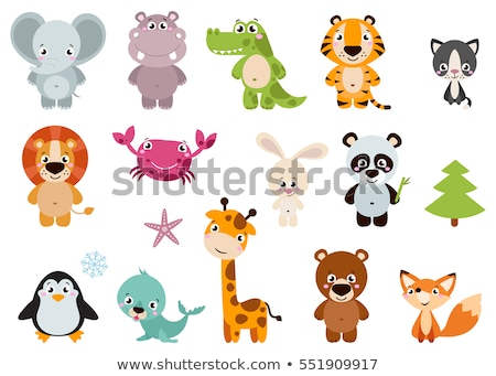 The big set of the funny cartoon animals Stock photo © perysty