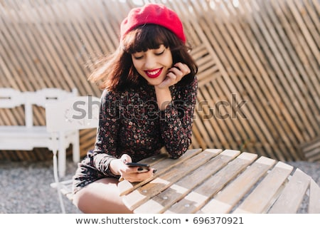 Vintage - lovely woman in white clothes posing stock photo © gromovataya