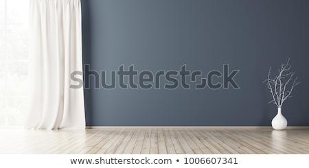 Stanza vuota blu muro legno casa luce Foto d'archivio © neirfy