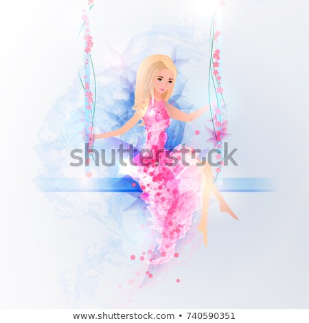 woman sillhouette in pink evening dress on the swings on floral  stock photo © cherju