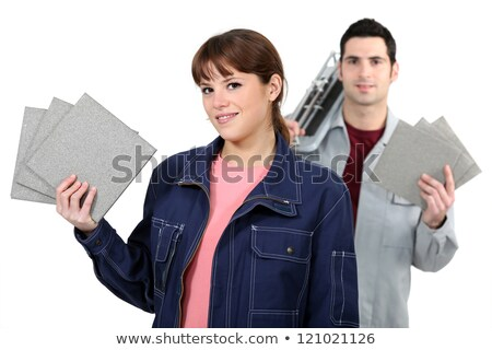 Couple with a tile cutter Stock photo © photography33