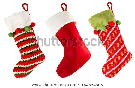 Vermelho natal meia quadro tradicional enforcamento Foto stock © Anna_Om