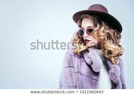 Kijken mode vrouw pels make-up luxe Stockfoto © Victoria_Andreas