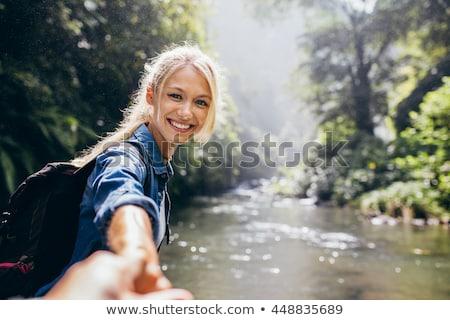 asian · donna · escursionista · escursioni · autunno · foresta - foto d'archivio © maridav