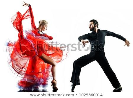 пару · танцы · танго · изолированный · белый - Сток-фото © forgiss