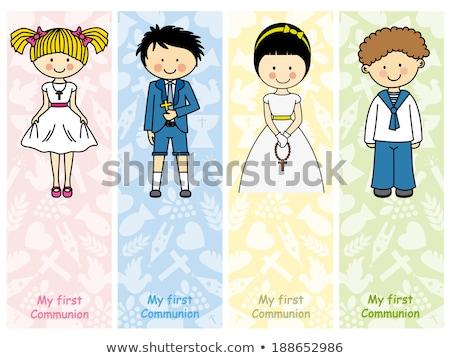 Holy communion invitation reminder, girl dove and chalice Stock photo © marimorena