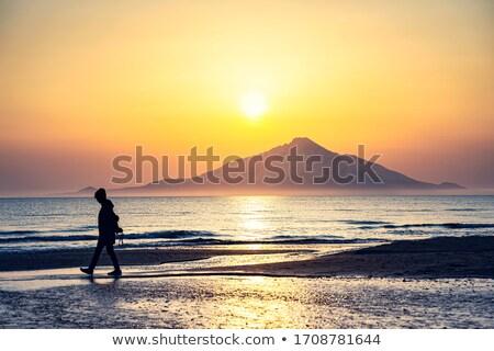 Avond zon bergen landschap hemel boom Stockfoto © Kotenko