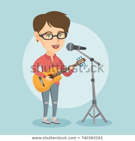 boldog · nő · gitár · játszik · fehér · zene - stock fotó © Farina6000