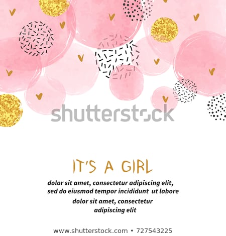 romantic baby girl announcement card stock photo © balasoiu