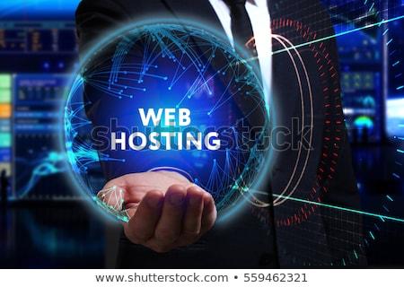 háló · hosting · kéz · tart · szó · gömb - stock fotó © tashatuvango