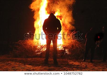 fogo · silhueta · homem · preto · chamas · dança - foto stock © victor1978