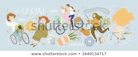 cat and birds on bicycle, vector  Stock photo © beaubelle
