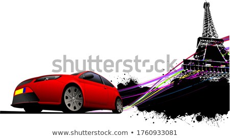 Foto stock: París · Eiffel · Tower · grunge · rojo · coche · coupe