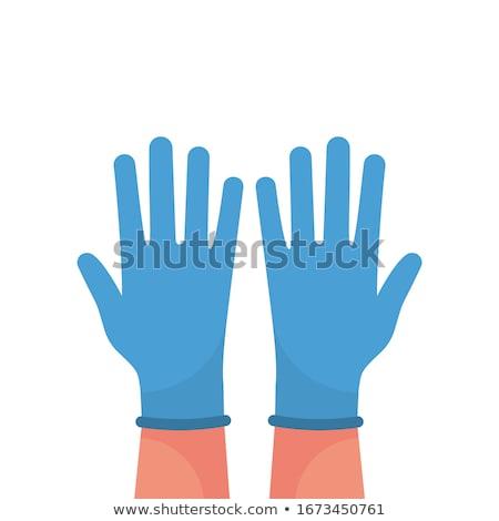 Vrouw rubberen handschoenen hand gezicht Blauw mond Stockfoto © photography33