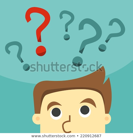 Business man scratches his head in indecision on a question mark Stock photo © ratch0013