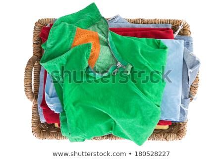 Kosár ráncos ruházat vasaló izolált tele Stock fotó © marimorena