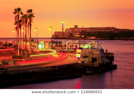 castillo · puesta · de · sol · La · Habana · Cuba · cielo · océano - foto stock © serpla