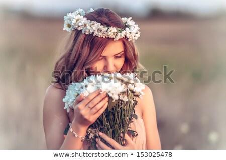 bella · donna · camomilla · ghirlanda · ritratto · donna - foto d'archivio © aikon