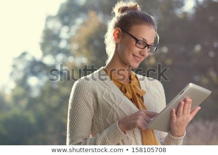 gyönyörű · nő · táblagép · park · gyönyörű · fiatal · nő · notebook - stock fotó © hasloo