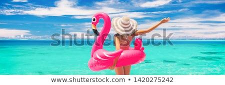 девушки фламинго соломенной шляпе розовый небе облака Сток-фото © nizhava1956