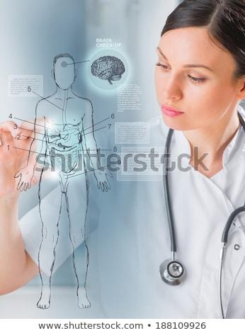 femenino · médico · examinar · informe · hospital · feliz - foto stock © hasloo