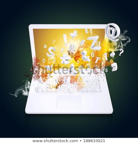 Foto stock: Portátil · cartas · números · humo · tecnología
