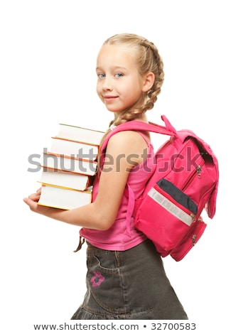 Stockfoto: Happy Little Schoolgirl With A Stack Of Heavy Books
