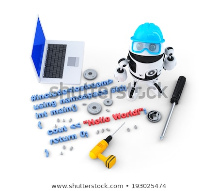 Robot with tools and program source code. Technology concept. Isolated. Contains clipping path Stock photo © Kirill_M