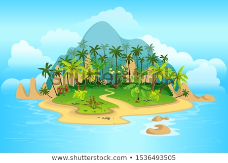 Small Island with tropical palms Stock photo © pugovica88