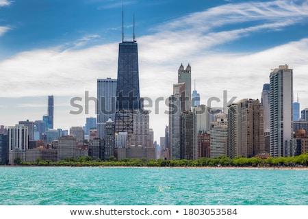 Chicago belváros városkép este víz naplemente Stock fotó © AndreyKr