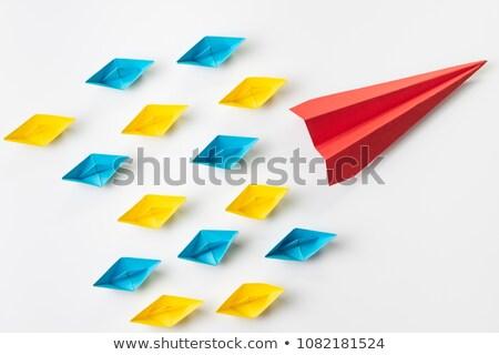 papieru · origami · płaszczyzny · latać · w · górę · szary - zdjęcia stock © auimeesri
