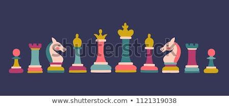 Tablero de ajedrez color piezas vidrio Foto stock © idesign