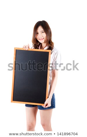 Attractive young woman holding blank paperboard Stock photo © cherezoff