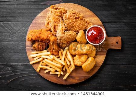жареная · курица · древесины · фон · куриные · пластина · еды - Сток-фото © M-studio