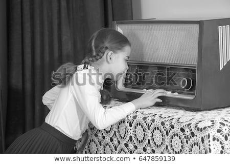девушки · старые · радио · черный · ребенка · Vintage - Сток-фото © InTheFlesh