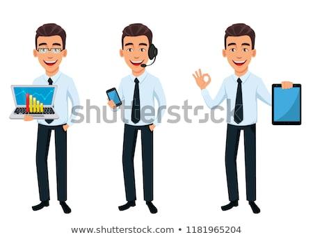 Három fiatal jóképű férfiak illusztráció mosoly Stock fotó © leonido