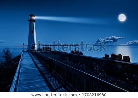 Pier baken bouw Blauw reizen vuurtoren Stockfoto © smithore